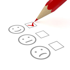 Satisfaction survey checkbox with smiley face